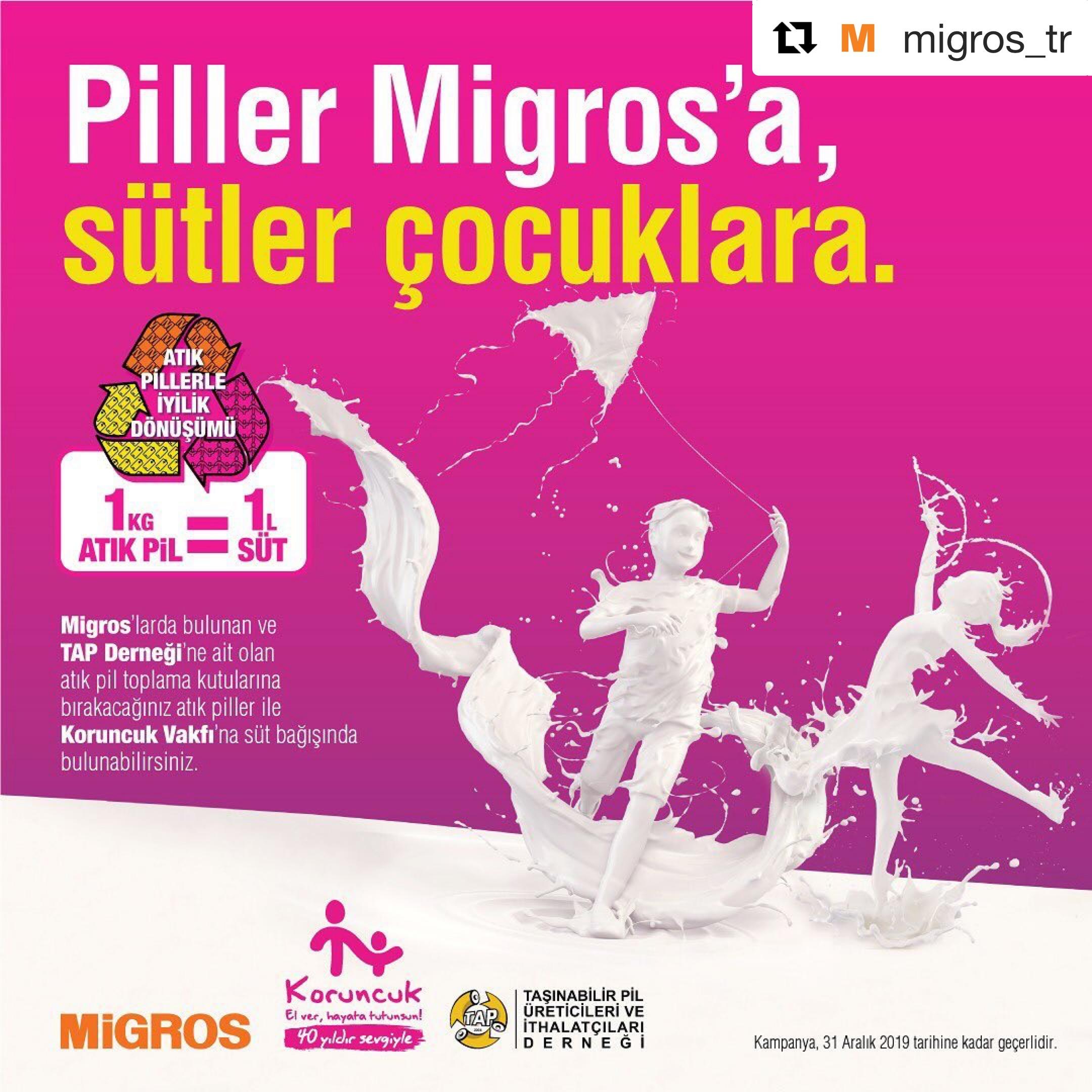TAP Migros Pili getir sütü götür kampanya afişi